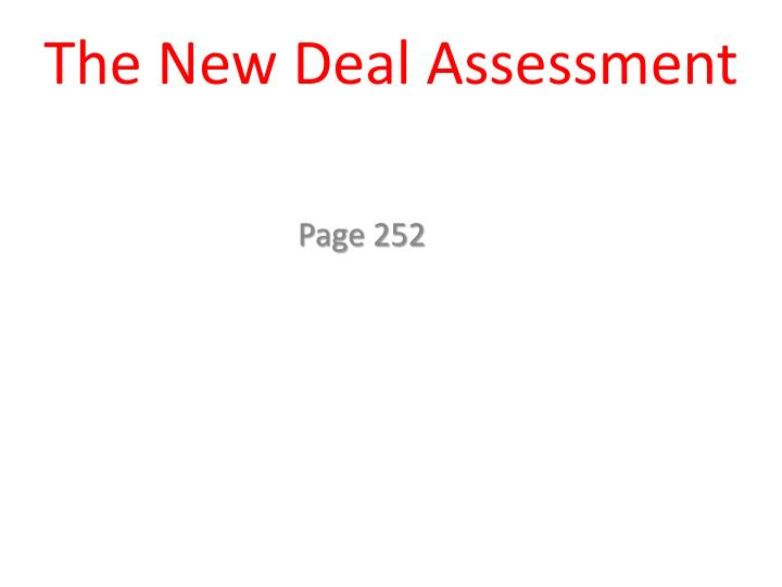 the new deal assessment n.