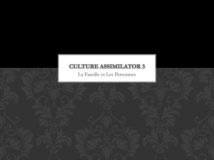culture assimilator 3 n.