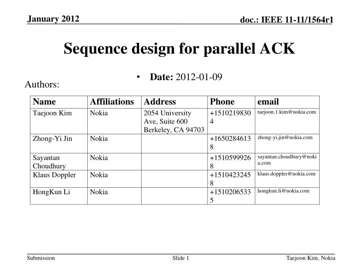 sequence design for parallel ack n.