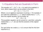 1 4 equations that are quadratic in form