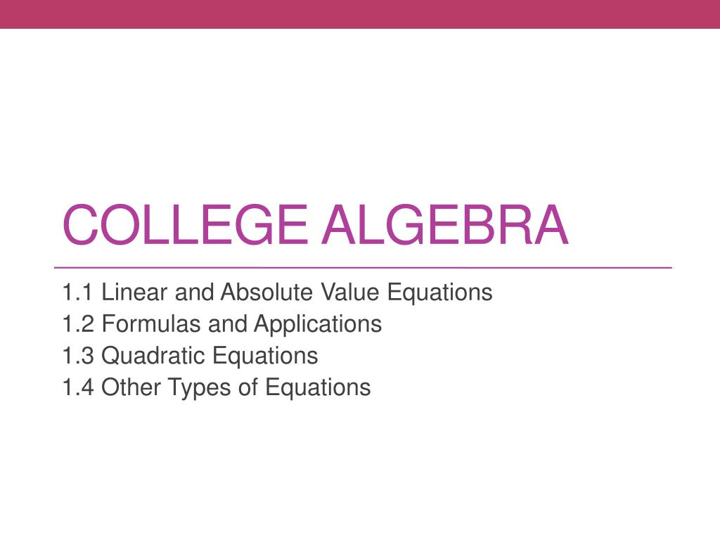 PPT - College algebra PowerPoint Presentation - ID:2851033