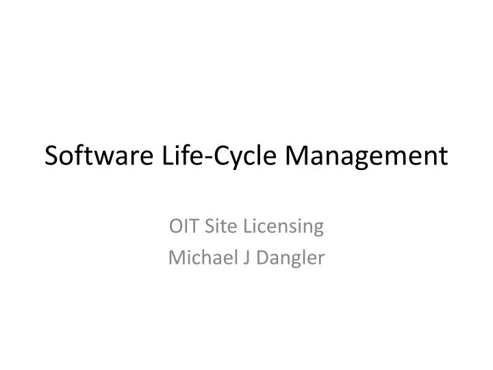 software life cycle management n.
