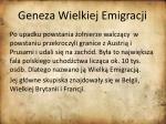 geneza wielkiej emigracji