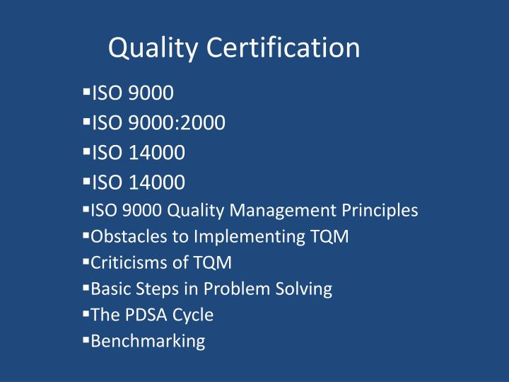quality certification n.