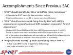 accomplishments since previous sac