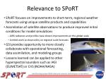 relevance to sport