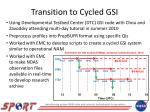 transition to cycled gsi