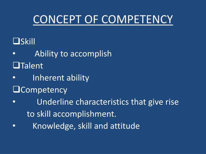 Concept of competency