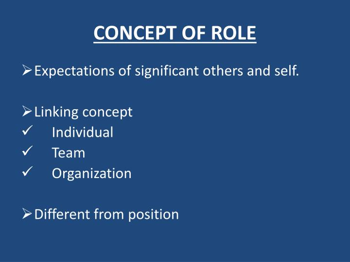 CONCEPT OF ROLE