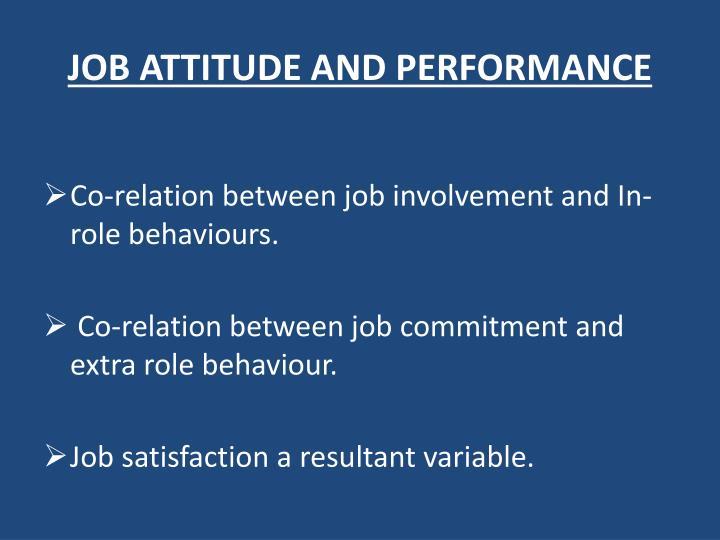 JOB ATTITUDE AND PERFORMANCE