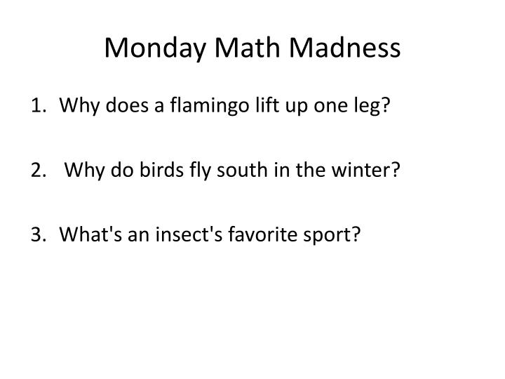 monday math madness n.