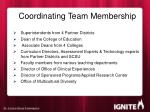 coordinating team membership
