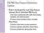 de pbs key feature evaluation update