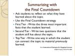summarizing with the final countdown
