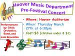 hoover music department pre festival concert