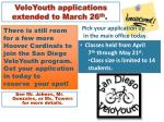 veloyouth applications extended to march 26 th