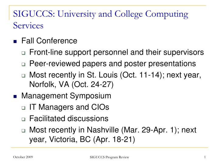 siguccs university and college computing services n.