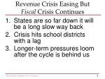 revenue crisis easing but fiscal crisis continues