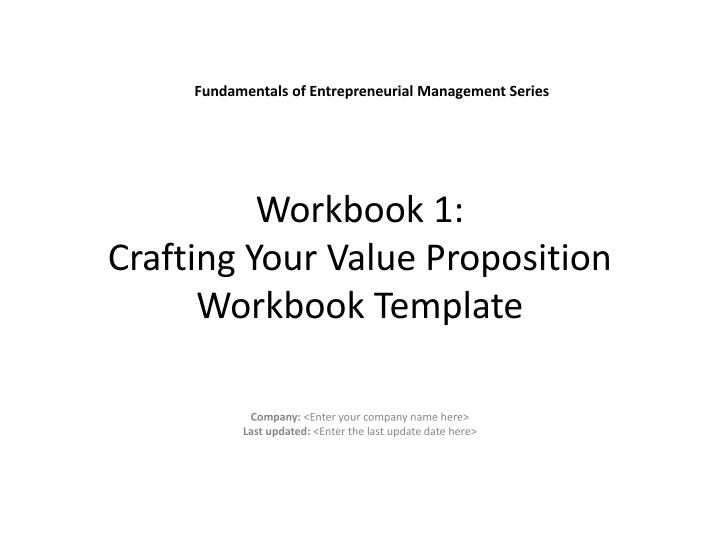 workbook 1 crafting your value proposition workbook template n.