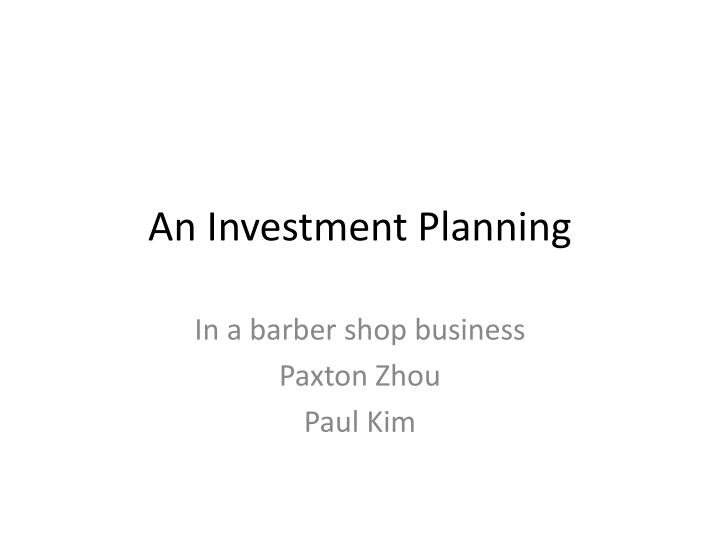 an investment planning n.