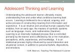 adolescent thinking and learning