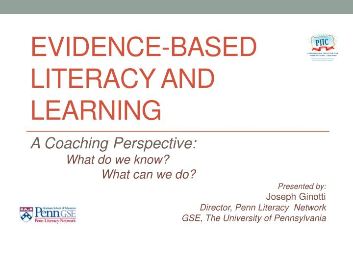 evidence based literacy and learning n.