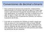 conversiones de decimal a binario