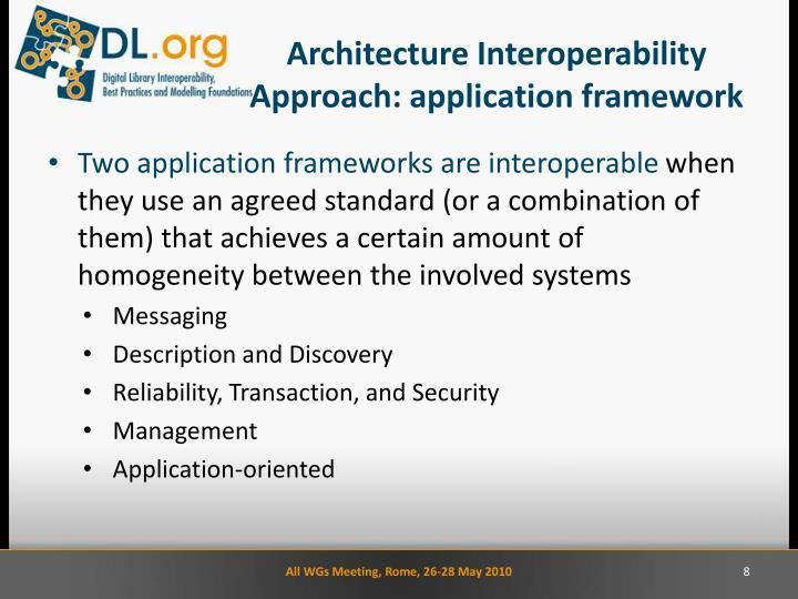 Architecture Interoperability Approach: application framework