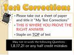 test corrections