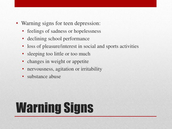 Warning signs for teen depression: