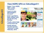 view hope gpa on gacollege411