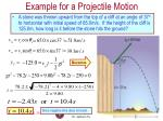 example for a projectile motion