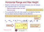 horizontal range and max height