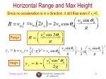 horizontal range and max height1