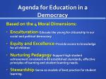 agenda for education in a democracy1