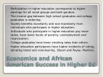 economics and african american success in higher ed