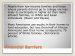 financial barriers