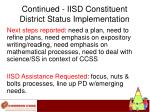 continued iisd constituent district status implementation