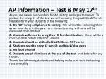 ap information test is may 17 th2