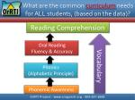 what are the common curriculum needs for all students based on the data