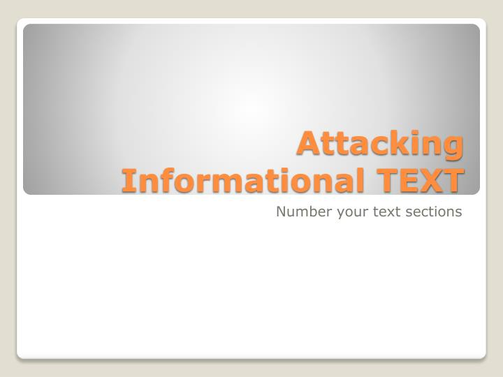 attacking informational text n.