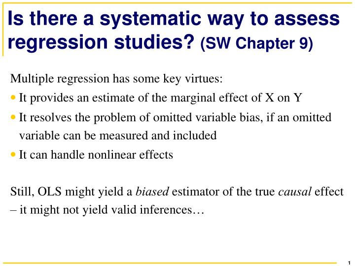 is there a systematic way to assess regression studies sw chapter 9 n.