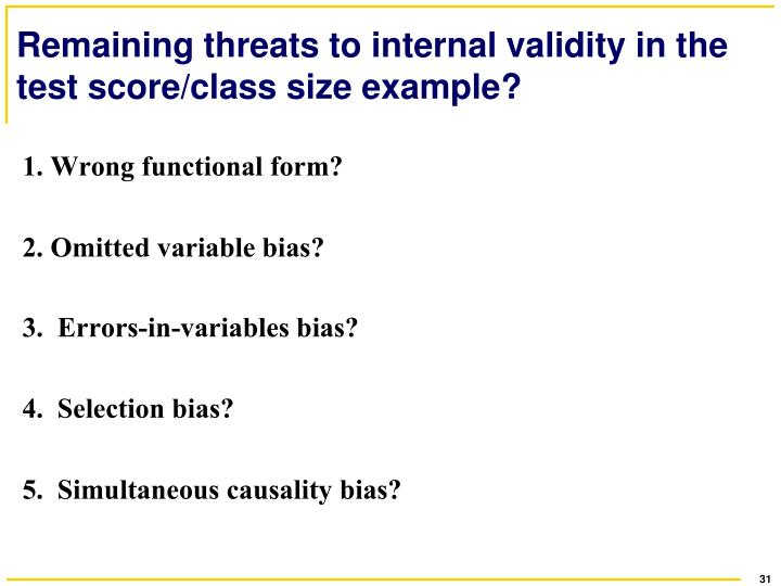 examples of threats to internal validity