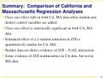 summary comparison of california and massachusetts regression analyses
