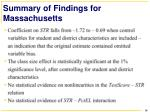 summary of findings for massachusetts