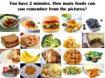 you have 2 minutes how many foods can you remember from the pictures