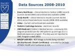 data sources 2008 2010