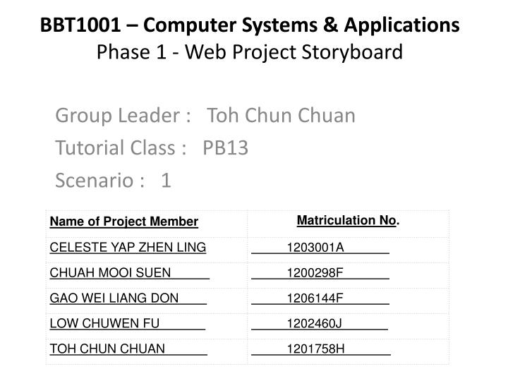 bbt1001 computer systems applications phase 1 web project storyboard n.