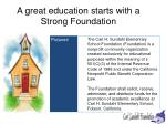 a great education starts with a strong foundation