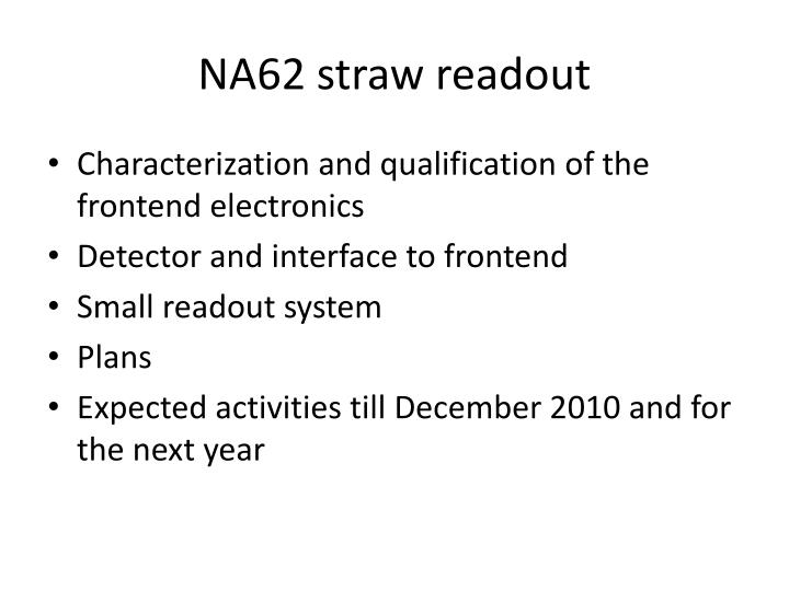 na62 straw readout n.
